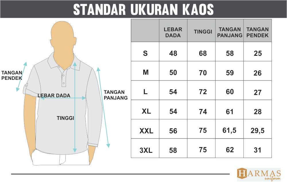 standar ukuran kaos