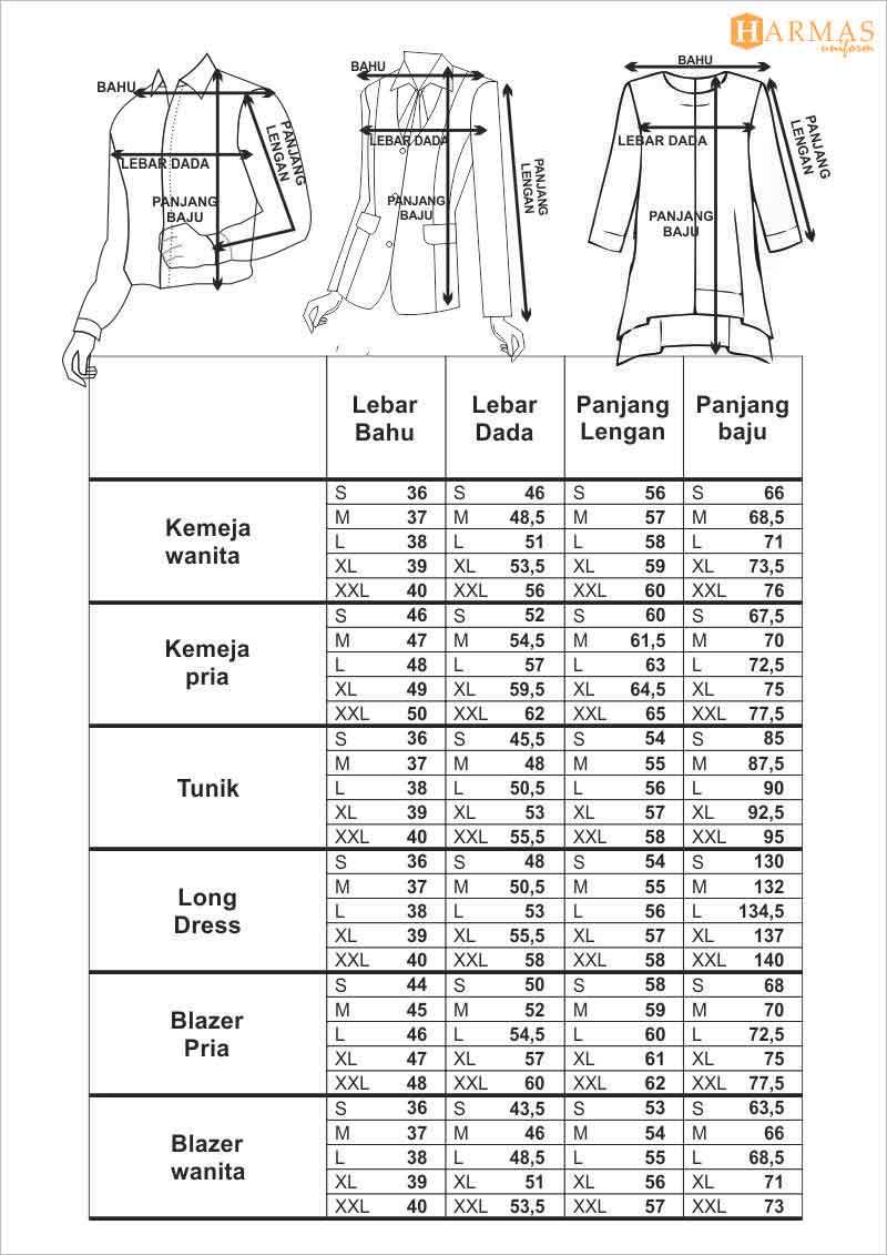 standar ukuran baju kerja