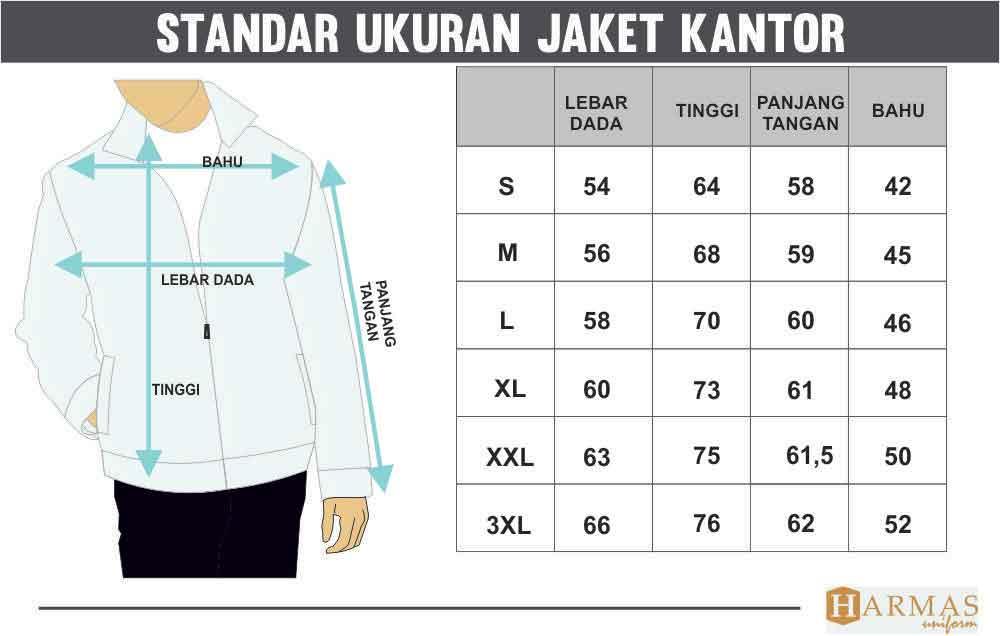 standar ukuran jaket kantor
