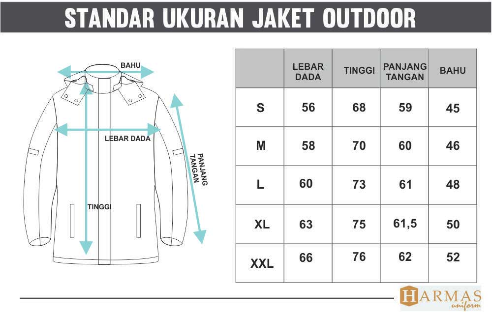 standar ukuran jaket lapangan